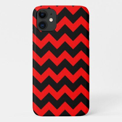 Over Chevron Print Red and Black Zig Zags iPhone 11 Case