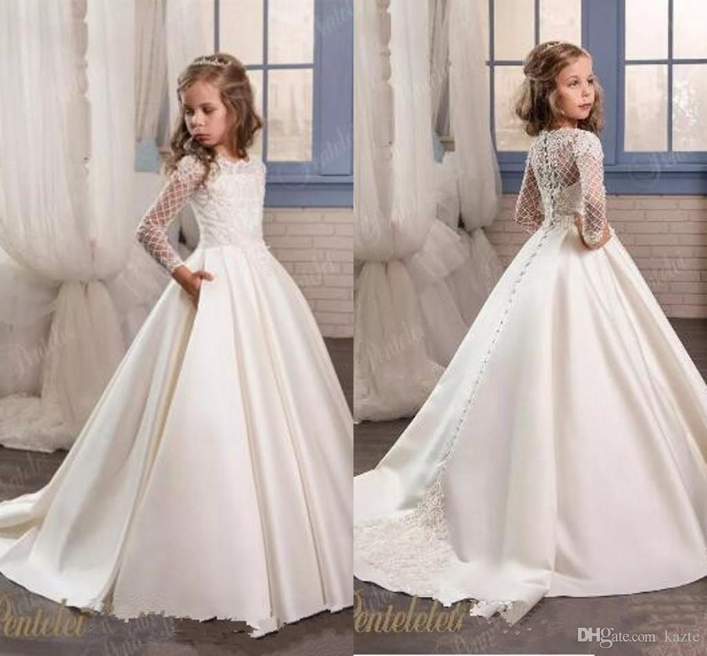 2017 Elegant Long Sleeves Satin Flower Girl Dresses For Weddings With Covered Buttons Back Appliqued Custom Made Dama De Honra Casamento Dama De Honra Vestidos [ 950 x 1024 Pixel ]