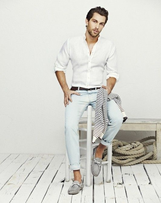 Style For Men, Light denim worn with loafers, white shirt and striped  pullover By Nayia Ginn