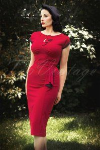 Stop Staring Timeless Pindot Red Pencil Dress 15215 20141105 0006W