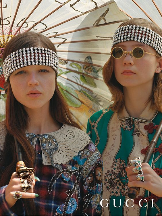 7211df93847 Elastic Web striped headbands embellished with crystals and fashion jewelry  from Gucci Fall Winter 2017.