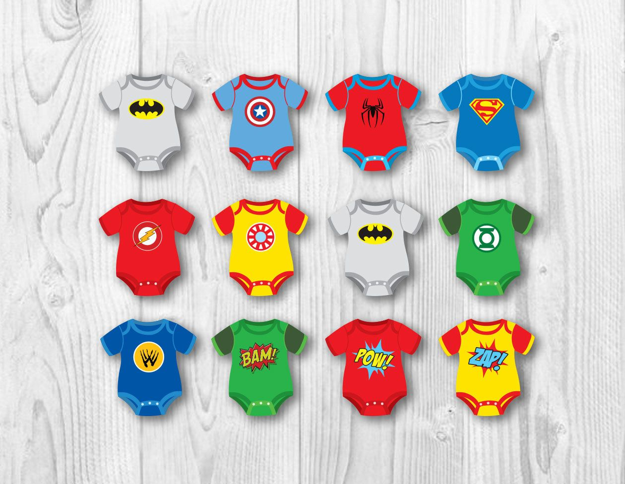 SUPERHERO BABY Cupcake Toppers. Baby Onesie Cake Toppers. Party Decorations.  Superhero Printables.