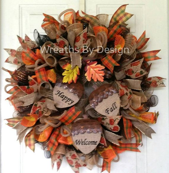 Front door wreath, fall wreath, wreaths, front porch decor, welcome wreath, fall  https://www.etsy.com/listing/197756797/happy-fall-welcome-leopard-mesh-door