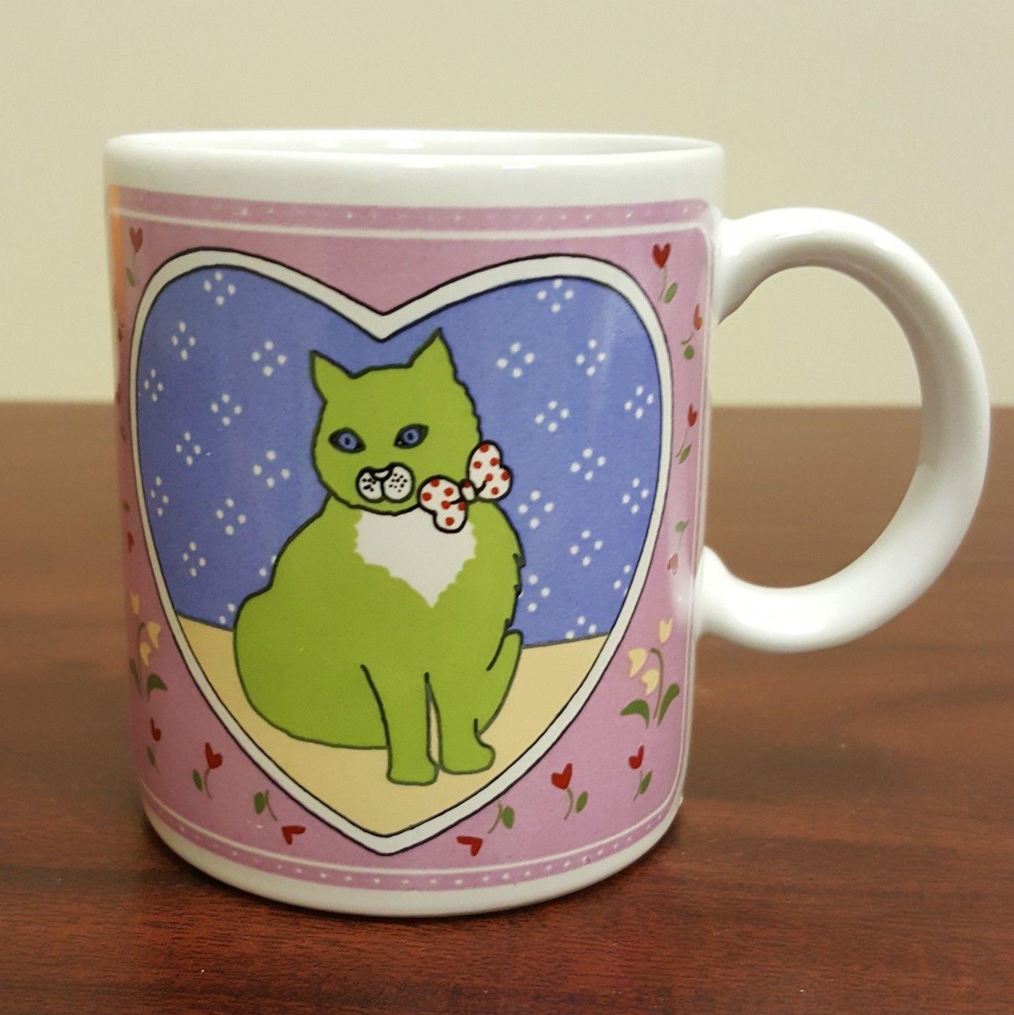 Green Cat Purple Eyes with Red White Polka Dot Ribbon Coffee Mug ...