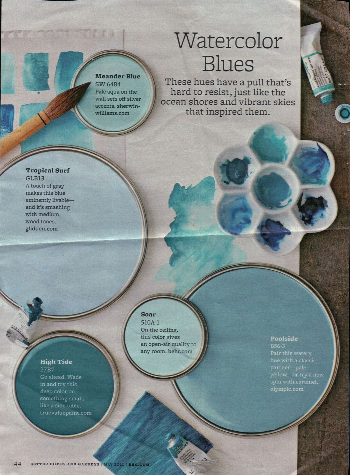 watercolor blues paint colors - better homes and gardens - tropical surf  could totally work in the downstairs if we ever went to cool tones