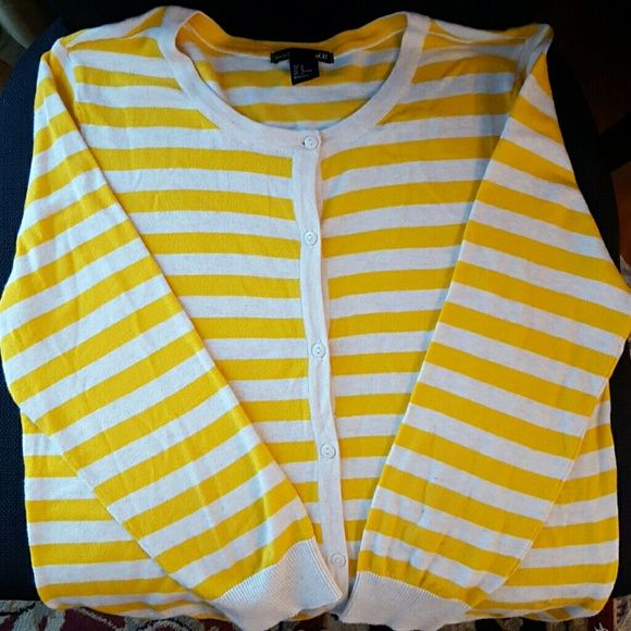 Yellow and white striped button up cardigan Beautiful yellow and white striped button up cardigan. Very soft. No tags but never worn. Machine washable. H&M Sweaters Cardigans
