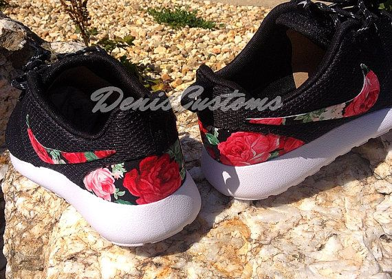 c8862ae1374d Nike Roshe Run One Black with Custom Red Pink Rose by DenisCustoms ...