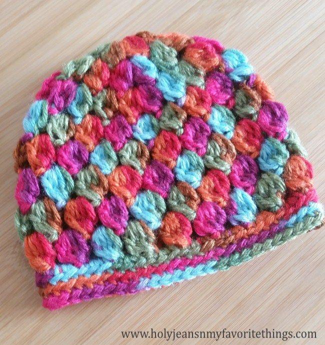 Free Crochet Pattern Cluster Baby Beanie | Crochet | Pinterest ...
