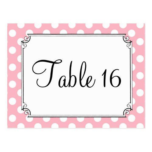 Polka Dot Wedding Reception Pink & White Polka Dot Wedding Table Numbers Postcard