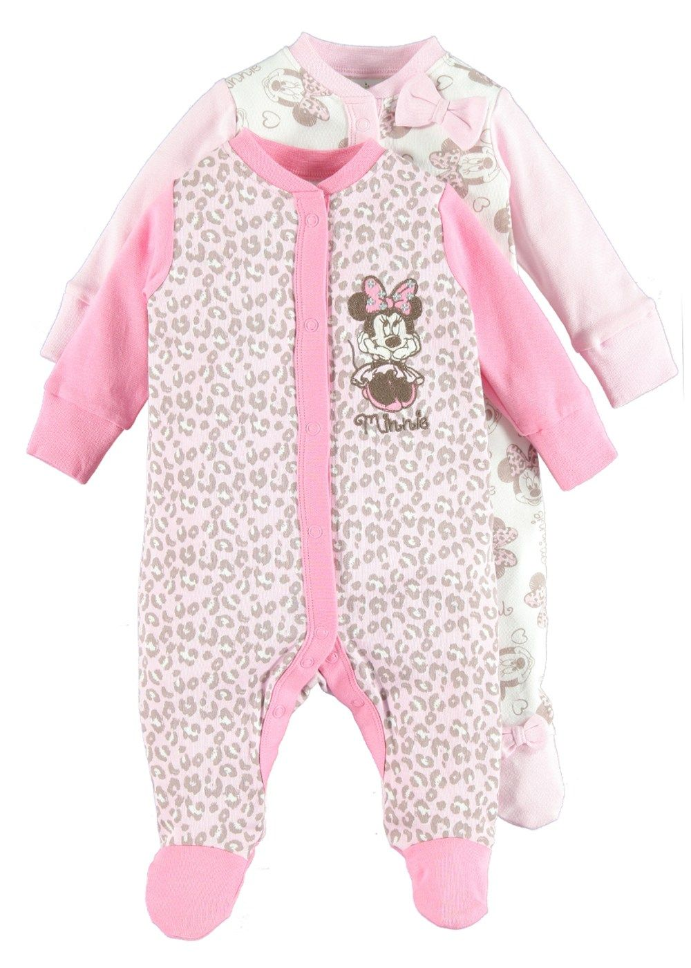 Disney Minnie Mouse Baby Girls 2 Pack Footie Pajamas