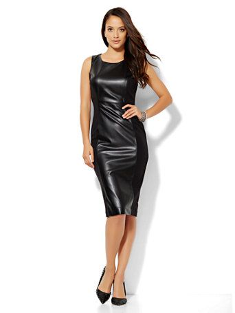 413d0d36a1 Shop Faux-Leather Sheath Dress. Find your perfect size online at the best  price at New York   Company.