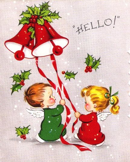 Vintage Christmas Card Angels Ringing Bells by PaperPrizes on Etsy