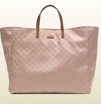 Gucci large light pink nylon guccissima tote