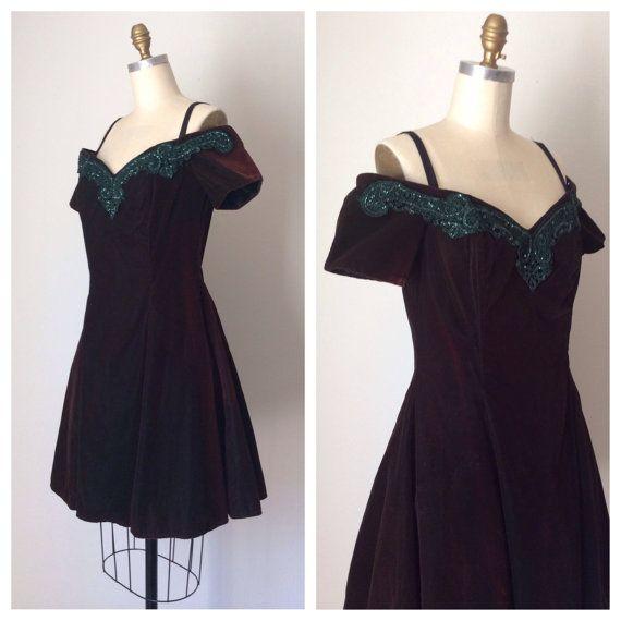 Vintage Velvet & Lace Prom Dress Off the Shoulder // Rampage Grunge ...