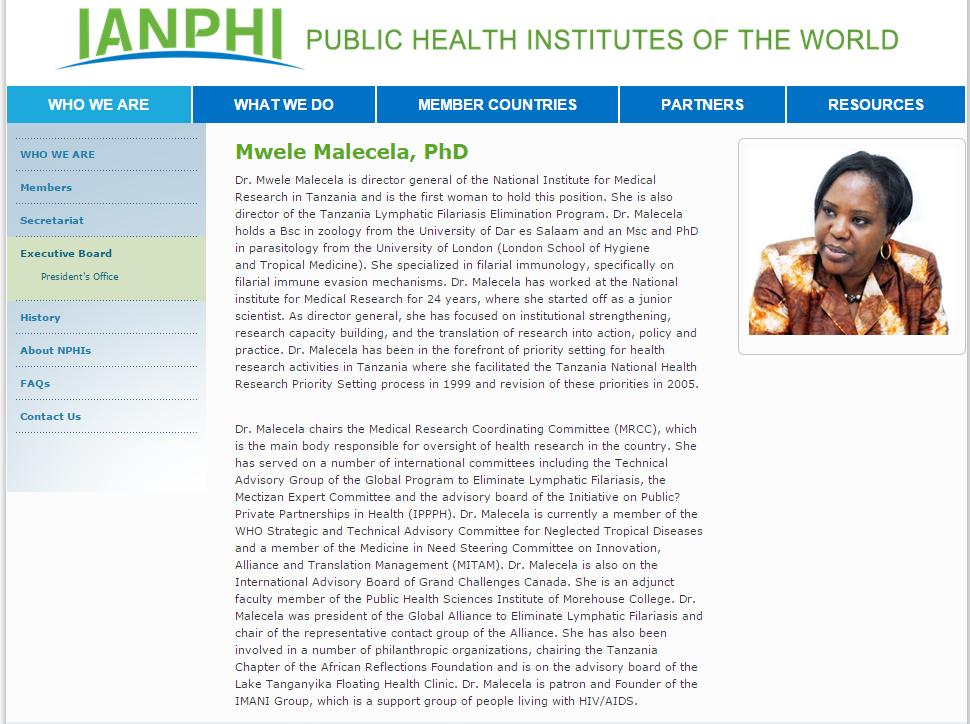 Dr Mwele Malecela a Tanzanian medical research