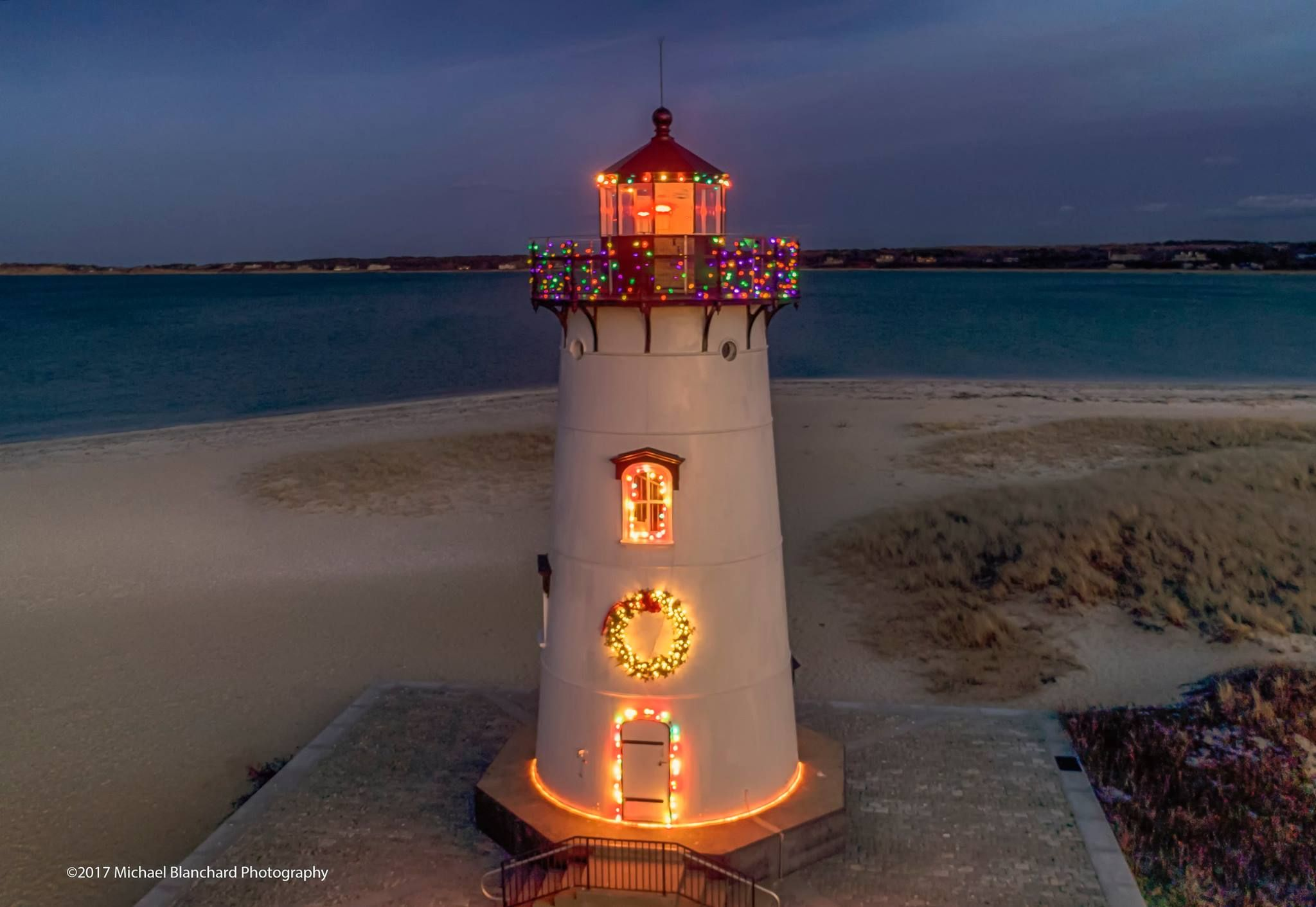 Edgartown Lighthouse At Christmas On Martha's Vineyard