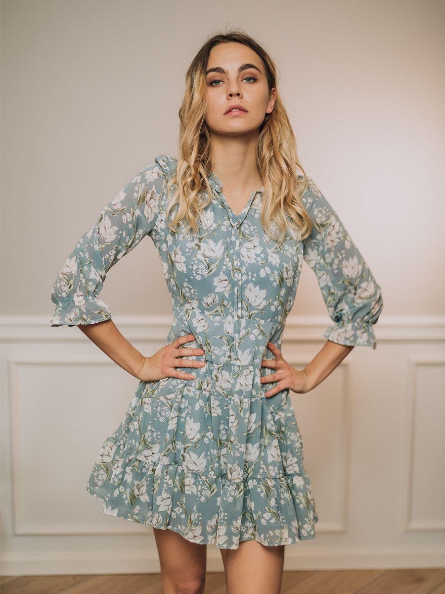 Sukienka Camile Niebieska W Kwiaty Dresses Long Sleeve Dress Mini Dress