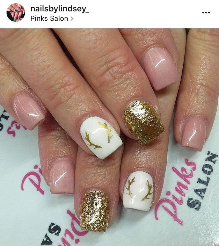cool Hunting Nail Art | Antler Nail Art| Fall Nails | Gold Shimmer ...