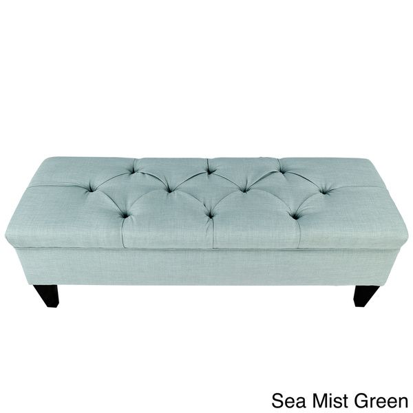 Brooke Diamond Tufted Upholstered Long Storage Bench Ottoman