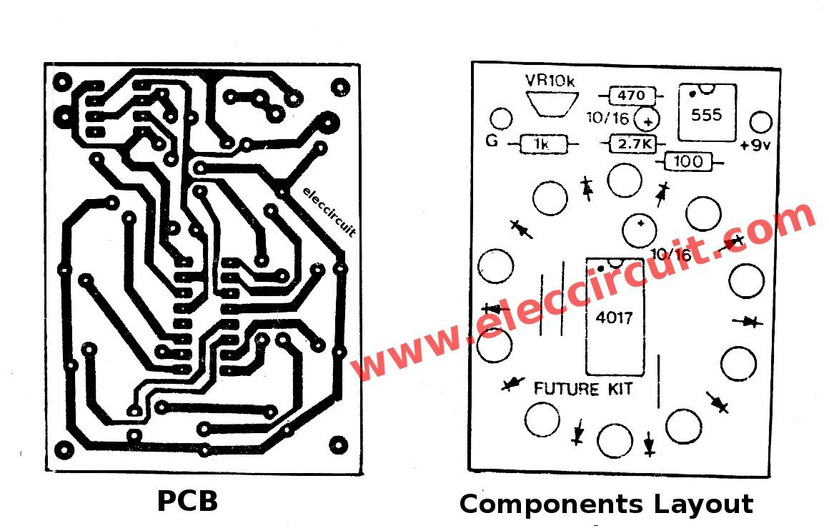 Pcb And Components Layout Of The Circle 10 Led Running Lights Mini Flip Flop Timer Using 4017