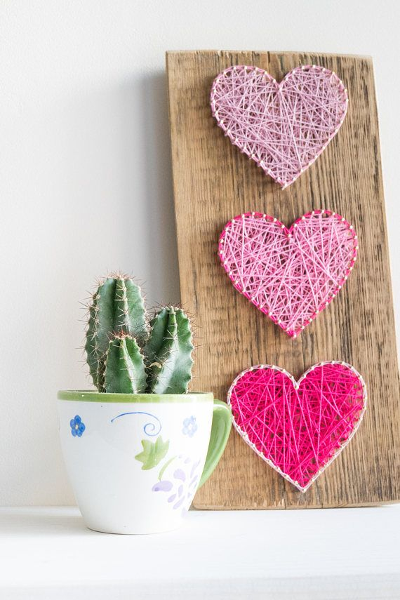 3 Heart string art decor, pink home wall art wood sign for Valentines day, home decor gift for someone you love, girly pink wall hanging