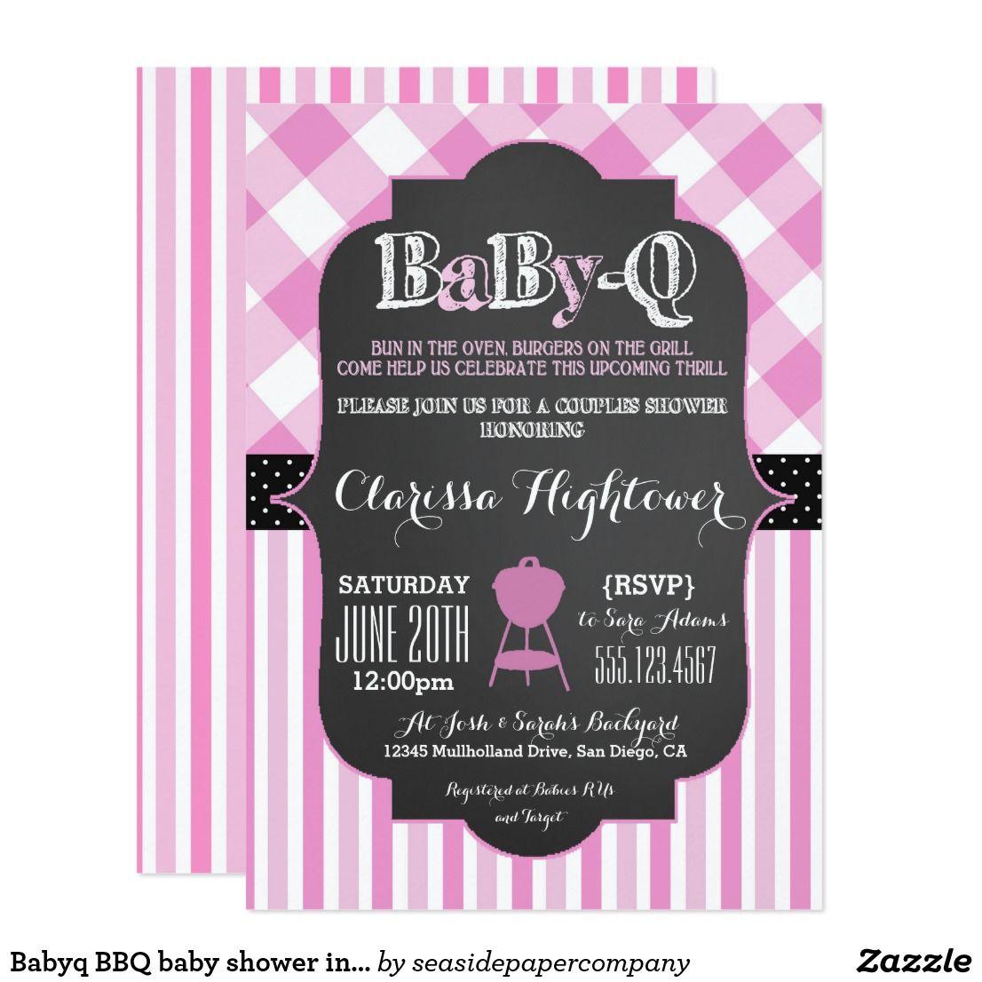 Babyq BBQ baby shower invitation couples girl