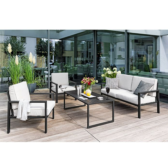 Loungemöbel Holz Outdoor Sunfun Loungemöbel-set Judith (4-tlg., Metall, Anthrazit ...
