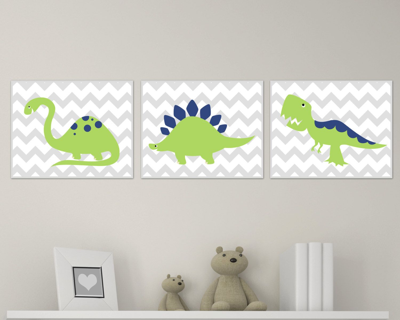 Dinosaur Nursery Art Print Chevron Green And Navy Baby Wall Prints Boy Room Decor Set Of 3 H139