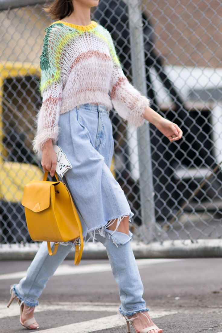 Street style from New York Fashion Week's SS17 shows. Your style takeout? Deconstructed jeans and loose knits go hand in hand