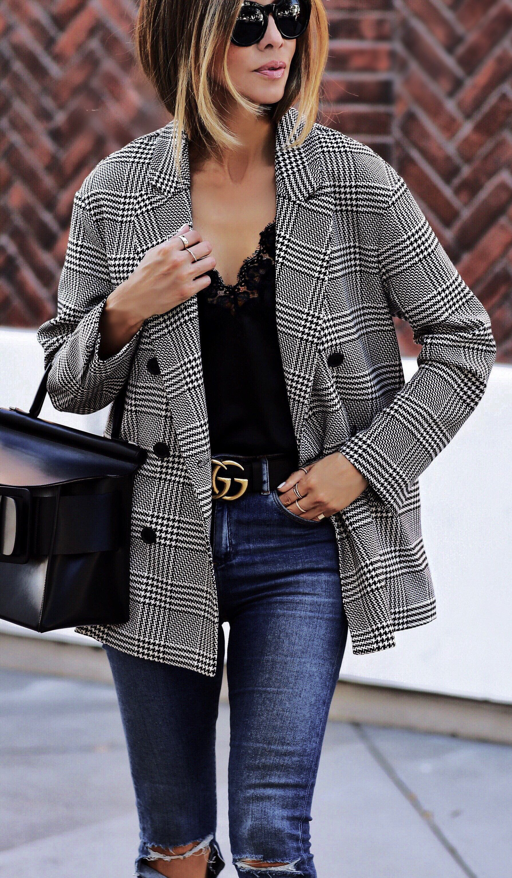 #fall #outfits women's black and white button-up coat