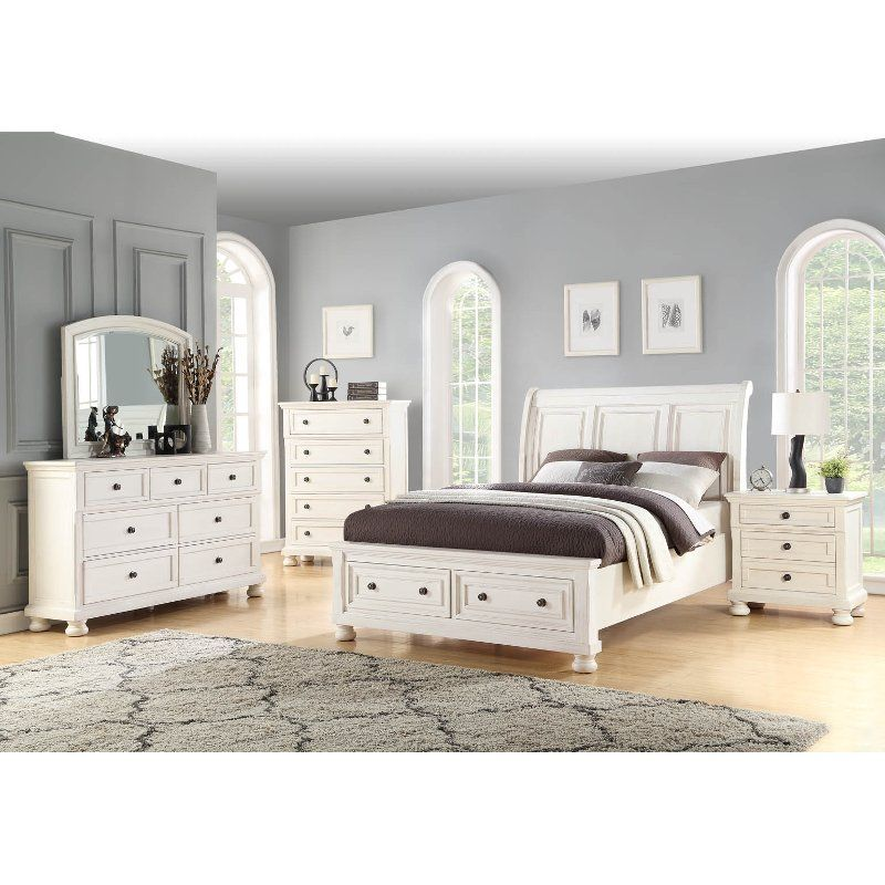 Classic Traditional White 4 Piece Queen Bedroom Set - Stella ...