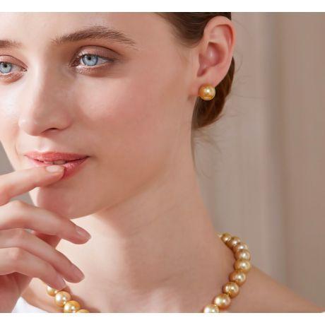 Boucles oreilles tiges clous – Perles Australie dorées – Or jaune