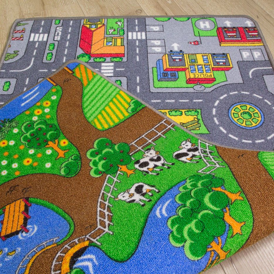 Details About Two Sided Fun Bright Kids Play Rug Road Car Mat Farm