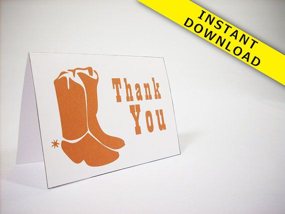Cowboy boots Thank You Card Template Instant by sparksdecor Look - thank you card template