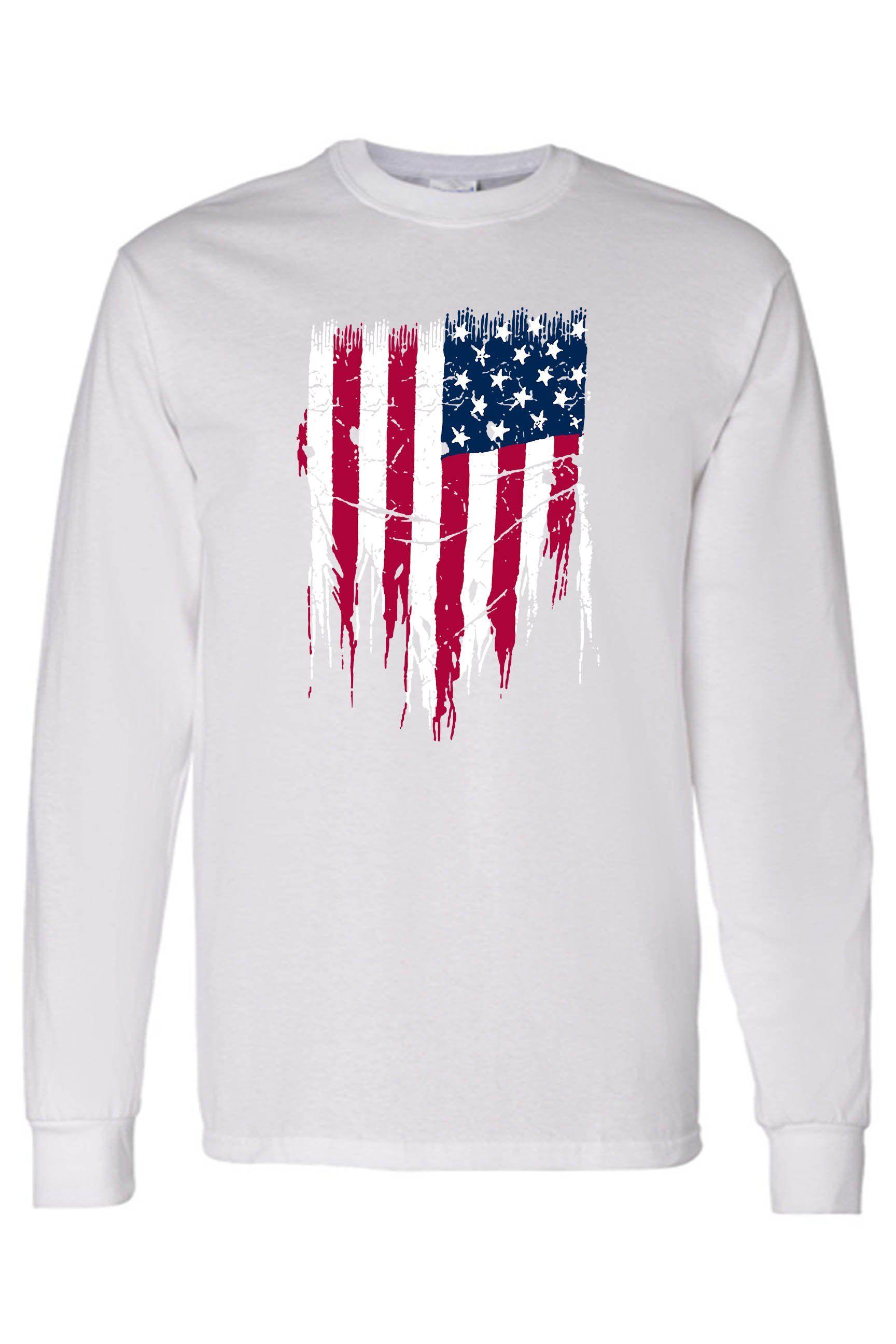 Men's/Unisex USA Flag Battle Ripped Long Sleeve T-Shirt – WHITE / Medium