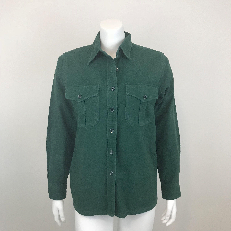 Flannel shirt vintage  LL Bean Womenus Flannel Shirt Size  Green LL Bean Work Shirt