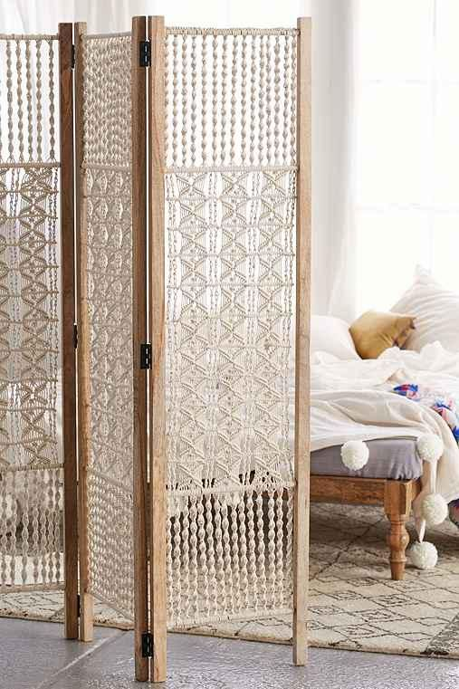 Magical Thinking Tabitha Macrame Foldable Screen from Urban Outfitters. Saved to La Casa. #foldablescreen.