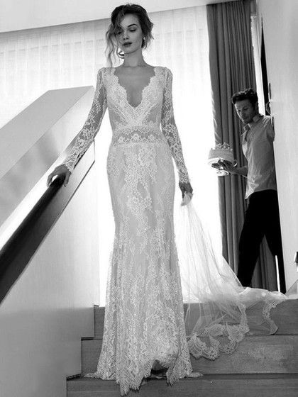 Sheath/Column V-neck Lace Sweep Train Lace Wedding Dresses #Milly00023093