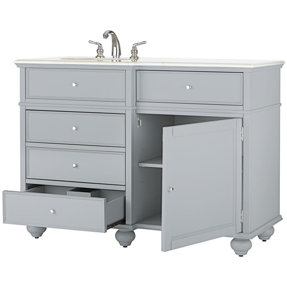 Home Decorators Collection Hampton Bay 48 in. Vanity in Dove Grey with Marble Vanity Top in White with White Basin