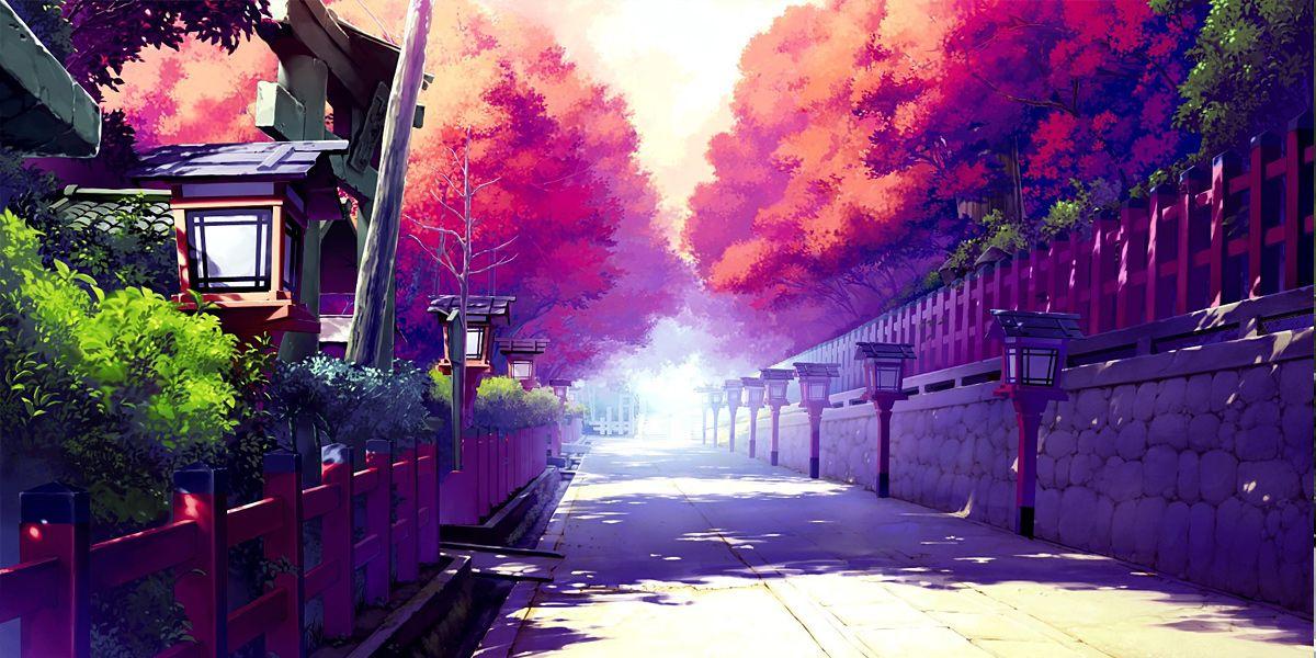 Nature Trees Autumn Cenário anime