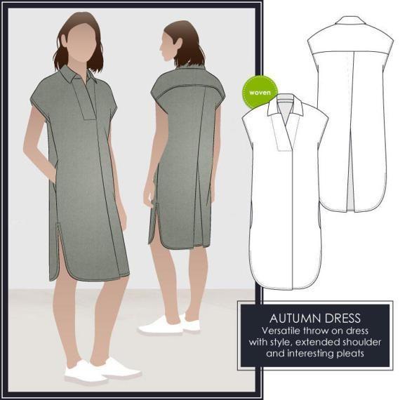 Style Arc Sewing Pattern - Autumn Dress - Sizes 6, 8, 10 - Women's Slip On Dress - PDF Sewing Pattern #pdfpatterns