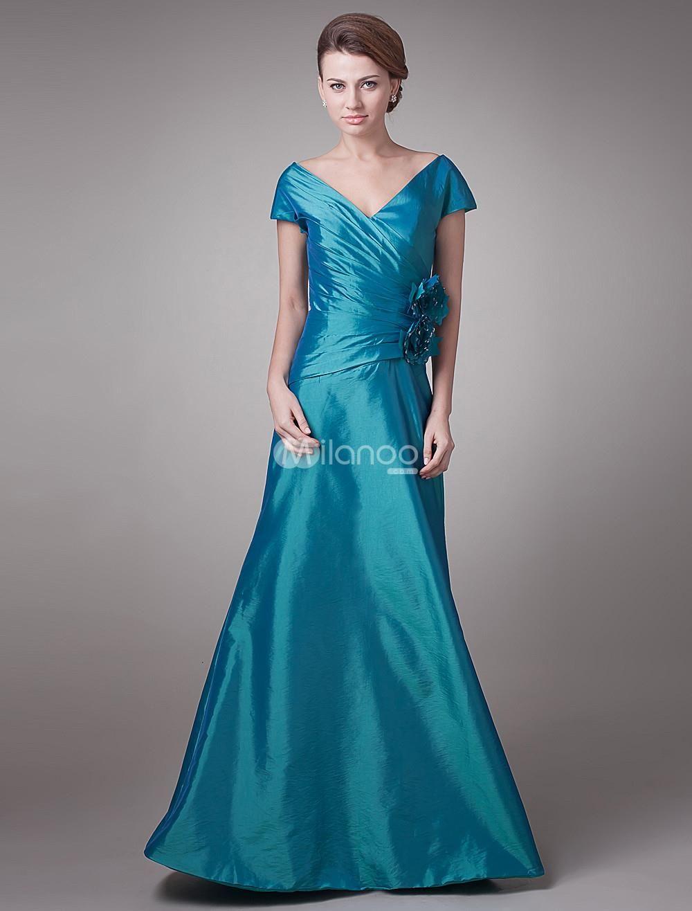 Elegant army green taffeta vneck applique mother of the bride dress