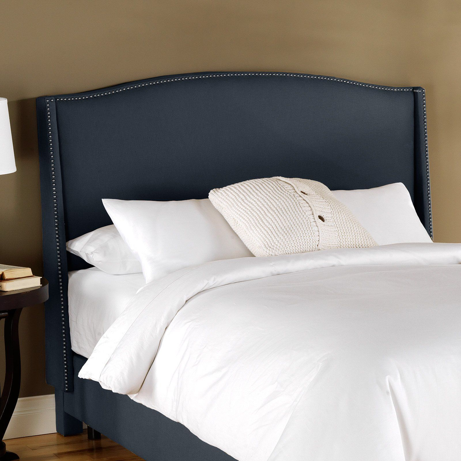 Nail Button Wingback Upholstered Headboard Beds At Bedroom