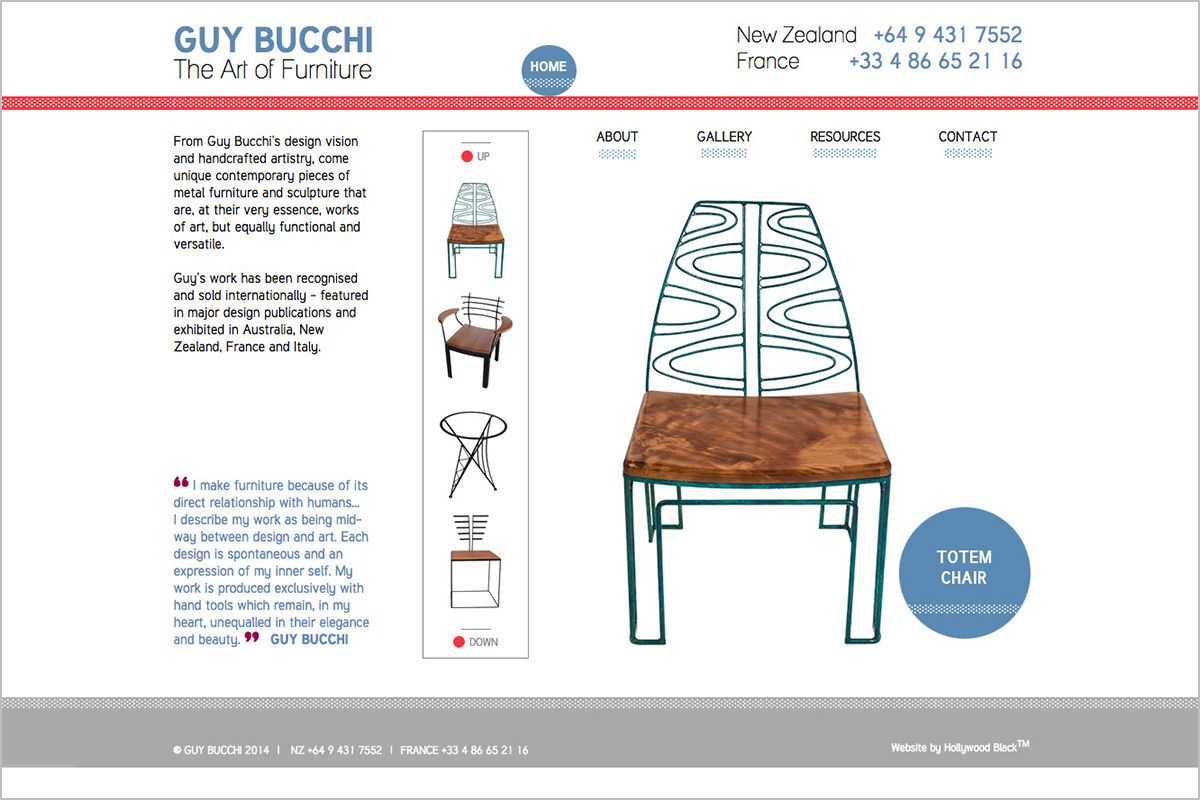 We designed the website for New Zealand-French artisan, Guy Bucchi, in a mid-century modern style and palette, with a touch of minimalist european flair.  #webdesign #artisanwebsite #ginadigital #portfolio