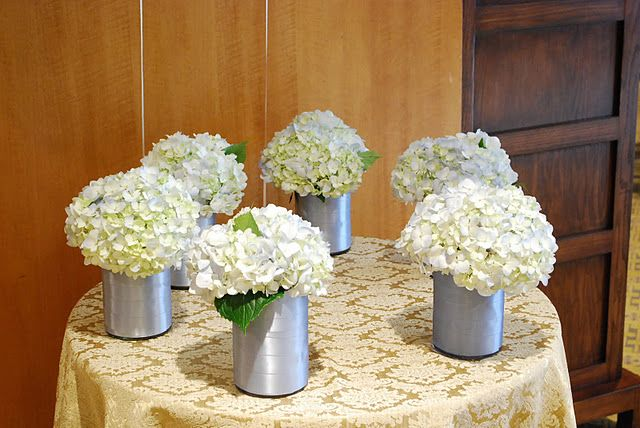 Hydrangea wedding centerpieces maybe use gold containers
