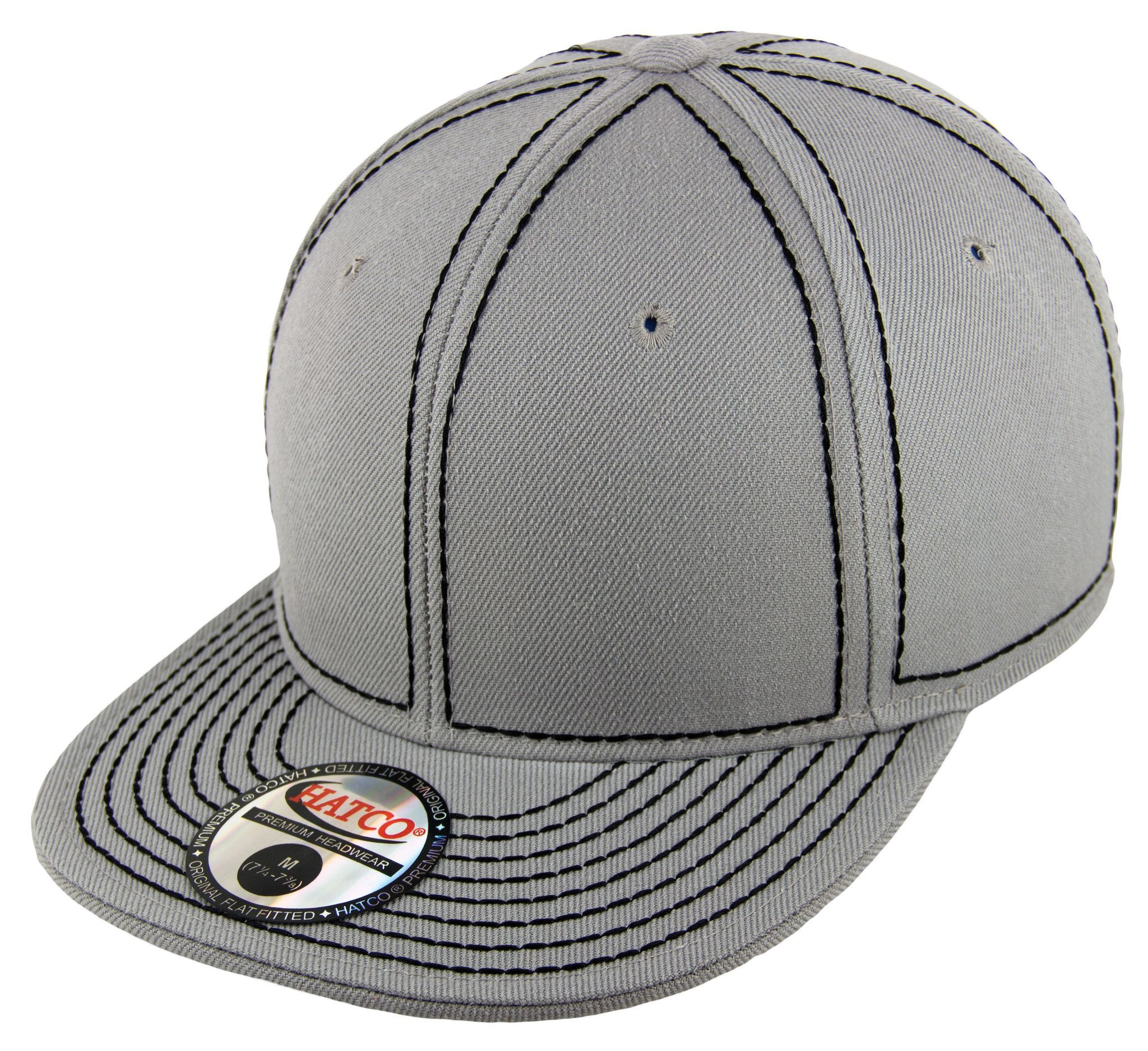 blank heavy stitch fitted cap light grey black products