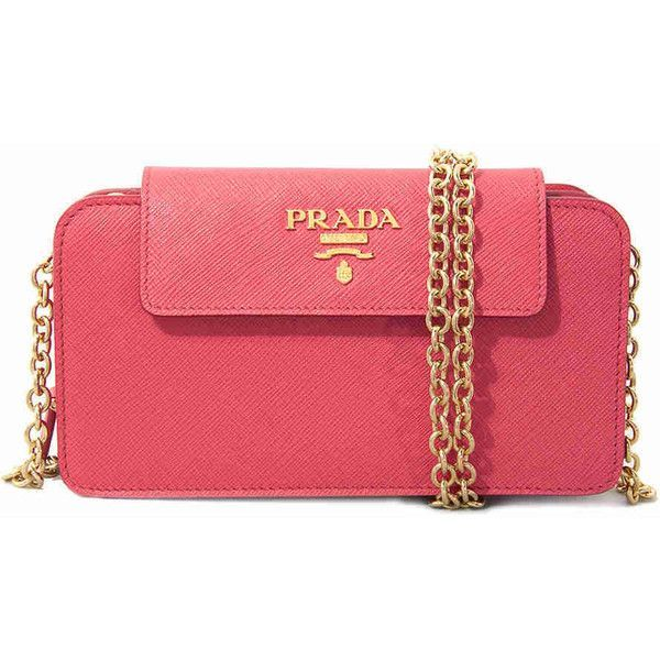 Prada Phone Holder Clutch Peony Pink 599 Liked On Polyvore Featuring Bags Handbags Clutches Purse Pocket And
