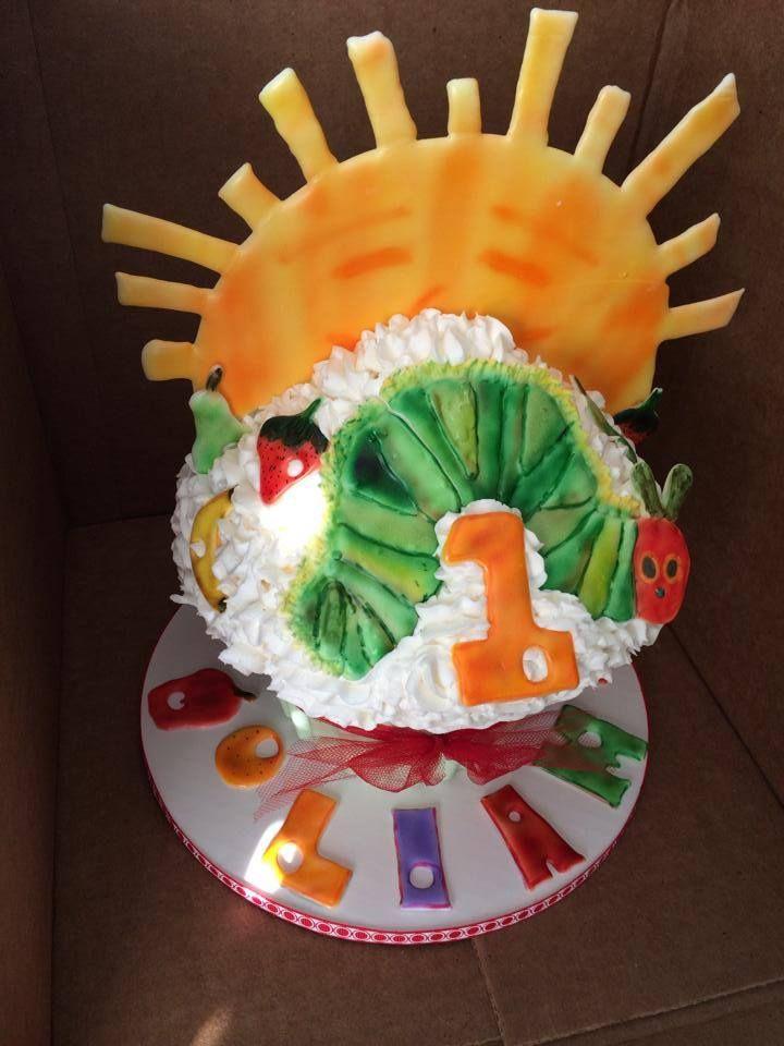 Giant hungry caterpillar cupcake