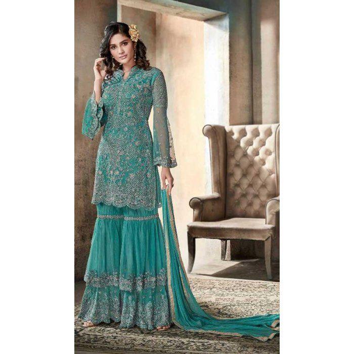 d3dfea6629 Pakistani Style Designer Green Color Net Sharara Kameez - 397047885 #sharara  #salwarkameez #designer