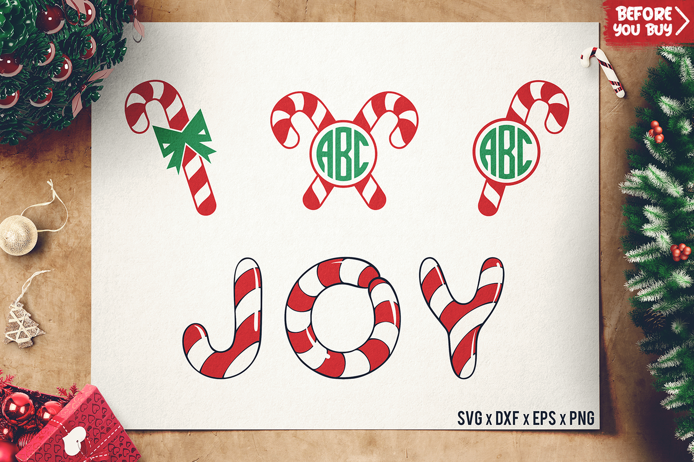 Christmas Candy Cane SVG Candy Cane Monogram SVG By
